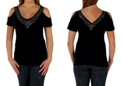 """Sasha"" Open Shoulder Fashion Top (Black)"
