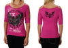 American Open Shoulder Fashion Strap Sleeve Eagle Graphics Shirt (Magenta)