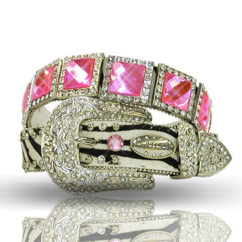 Picture of Cowgirls Western Zebra Print Pink Prism Cut Stone Concho Belt