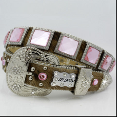 Cowgirls BHW Brown with Pink Square Crystal Belt