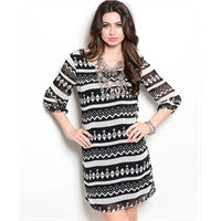 Aztec Black & White Long Sleeve Dress
