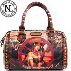 Nicole Lee Wagon Wheel Cowgirl Boston Bag Brown