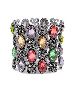 Picture of Multi Colored Faceted Stones Stretch Bracelet