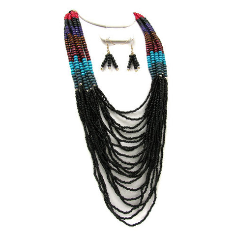 Picture of Necklace Earring Set Multi Lines Black