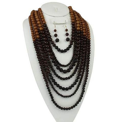 Picture of Necklace Earring Set 7 Strand Browns