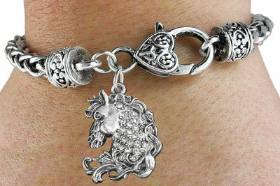 Picture of Cowgirls Rhinestone Horse Head Charm Jewelry Bracelet Lead & Nicel Free