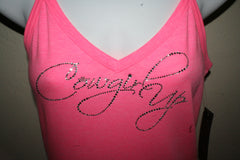 Cowgirl Up Western Rhinestone Pink Cami V Neck Top