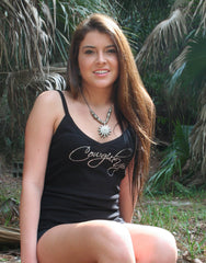 Cowgirl Up Rhinestone Black V Neck Cami Top