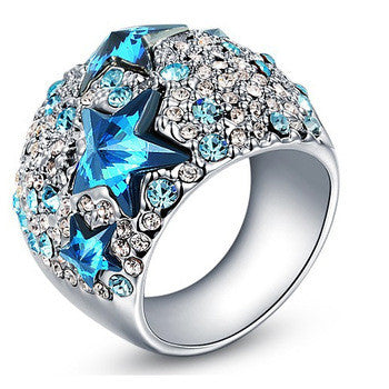 "Picture of ""You are a Star"" Cowgirl Stainless Steel Austrian Crystal Ring"