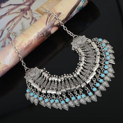 Bohemian Vintage Silver Collar Statement Necklace