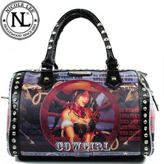Nicole Lee Wagon Wheel Cowgirl Boston Bag Black
