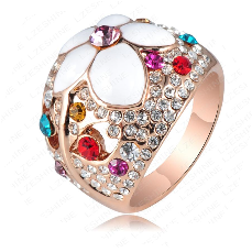 18K Rose Gold Plated Enamel Flower Pave Ring with Austrian Crystals