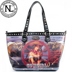 Nicole Lee Wagon Wheel Cowgirl Western Tote Handbag Black