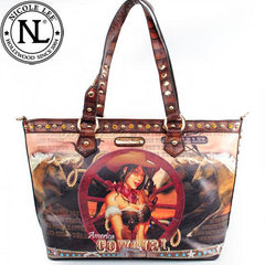 Nicole Lee Wagon Wheel Cowgirl Tote  Brown