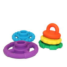 Load image into Gallery viewer, Rainbow Stacker and Teether Toy - Rainbow Bright