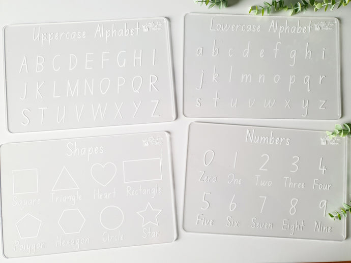 Alphabet, Numbers & Shapes - Trace & Wipe Boards