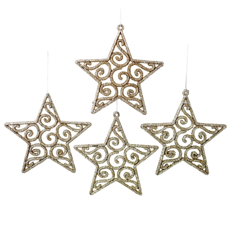 Set de 4 Estrellitas Colgantes Decor color Oro (4760512561201)