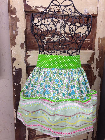 Blue Green Floral Waist Apron by Glory Haus