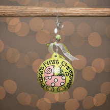 Pink Carriage Baby's First Christmas Ball Ornament