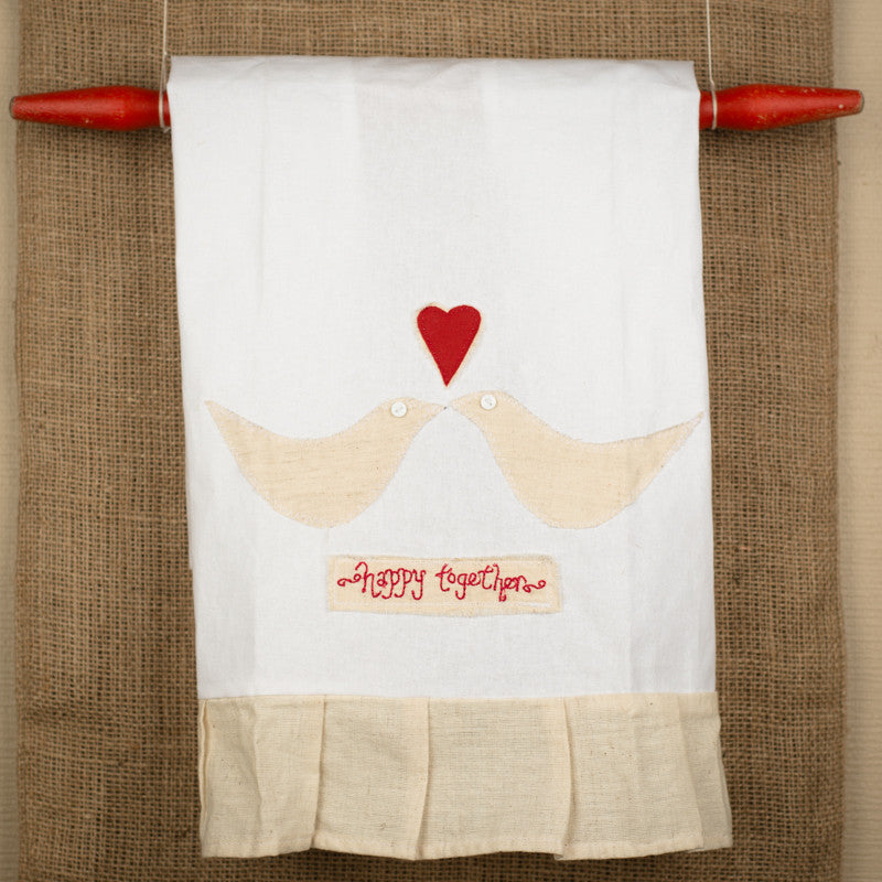 Happy Together Kissing Birds Tea Towel by Glory Haus