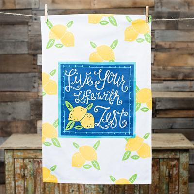 Live Your Life With Zest Tea Towel