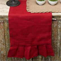 90-inch Burlap Ruffle Table Runner, Red