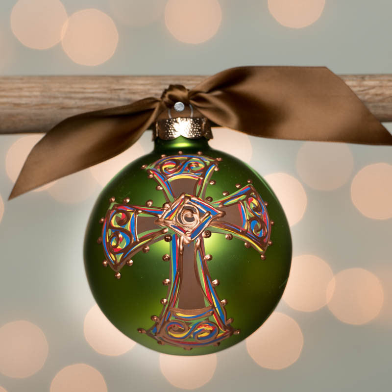 Green Bold Cross Glass Ornament