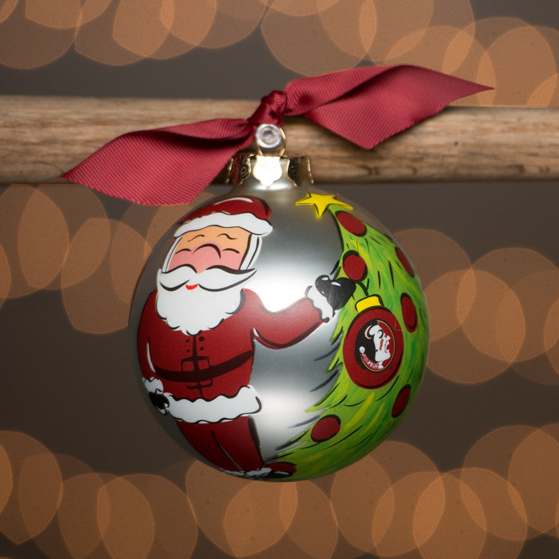 Florida State Santa Glass Ornament
