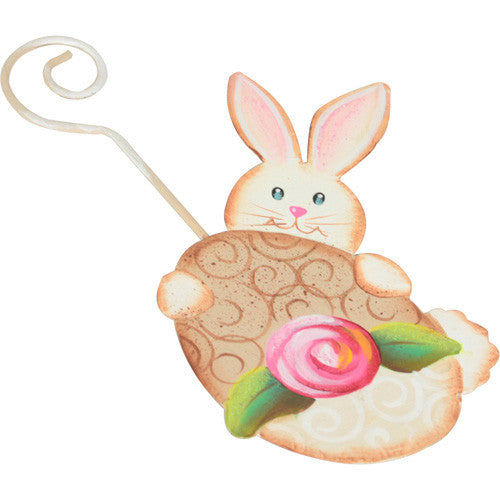 Bunny with Rose Egg Ornament