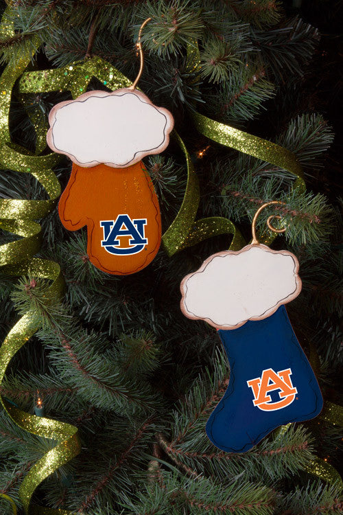 Auburn Stocking and Mitten Ornaments (Set of 2)