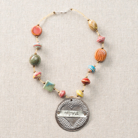 Choker Multicolor W/ Grateful On Heart