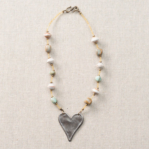 Choker in Robin's Egg with Long Heart Medallion by Trista Sutter