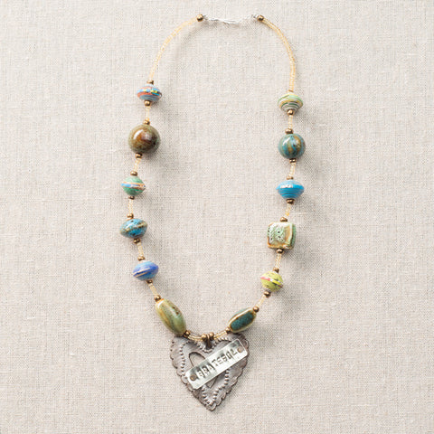 Choker Blue/Green with Grateful On Heart