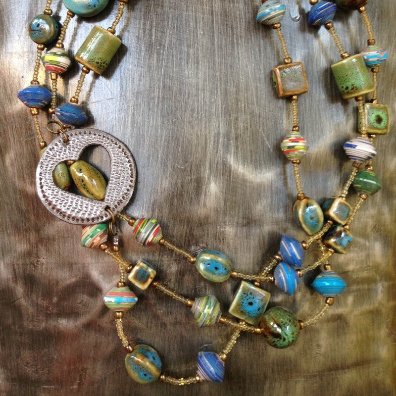Triple Strand Necklace in Robin's Egg by Trista Sutter