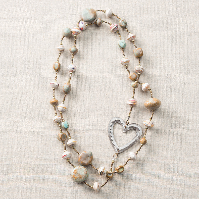 Robin's Egg Long Necklace Heart