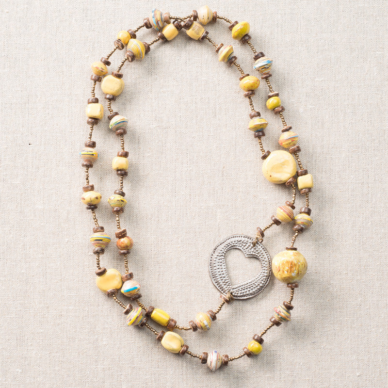 Yellow Long Necklace with Circular Heart