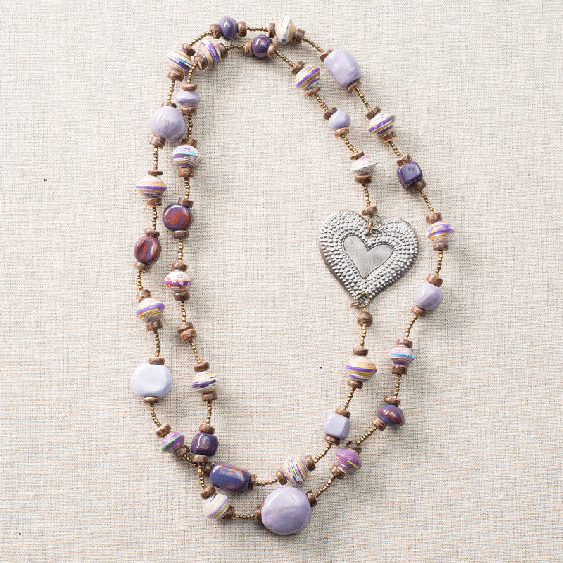 Purple Long Necklace with Solid Heart