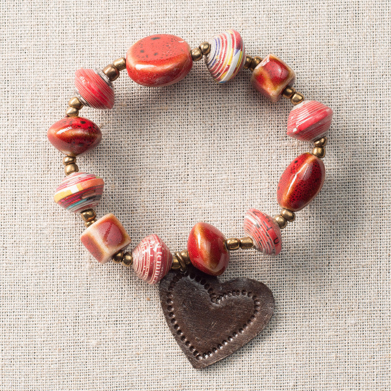 Red Bracelet with Metal Heart