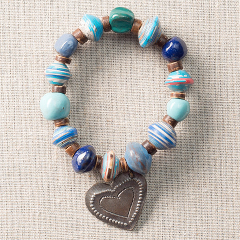 Blue Cobalt Bracelet with Metal Heart