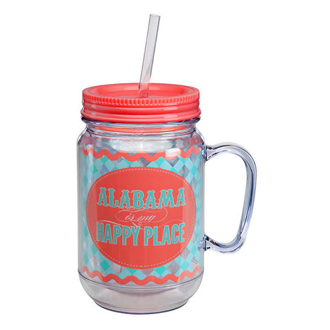 Alabama Is My Happy Place Mason Jar