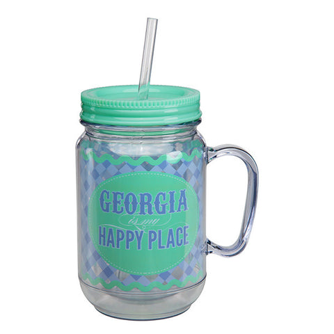 Georgia Is My Happy Place Mason Jar