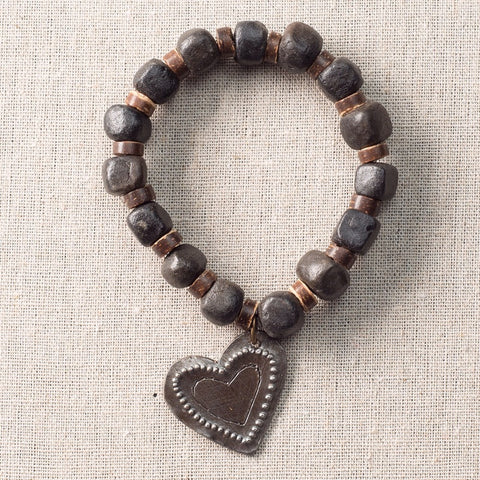 Dark Clay Bracelet with Metal Heart