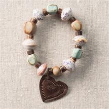 Robins Egg Bracelet with Metal Heart