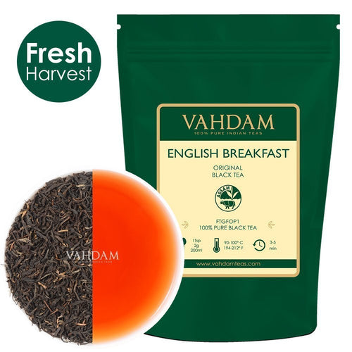 VAHDAM®, Originale English Breakfast Foglie Di Tè Nero (200+ tazze) 454 gr