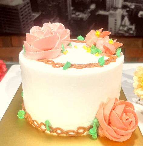 White Cream with Pink Floral Butter Cream Design Cake