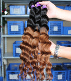 black ombre brown 20 inches loose wave Brazilian human hair extentions - Luckin Wigs