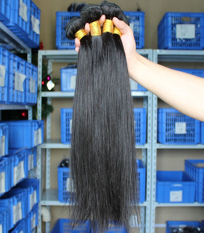 black straight Brazilian human hair bundles - Luckin Wigs