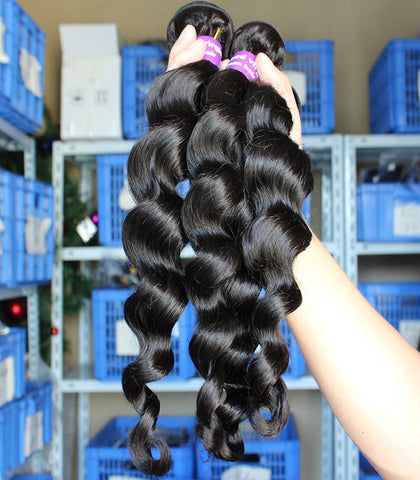 "18"" black loose wave Brazilian human hair extension - Luckin Wigs"