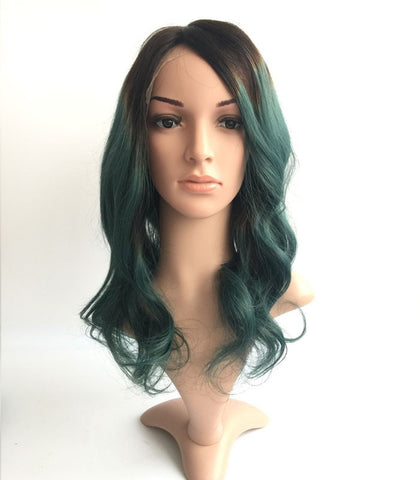 14inches 1b-green body wave Brazilian human hair wigs - Luckin Wigs