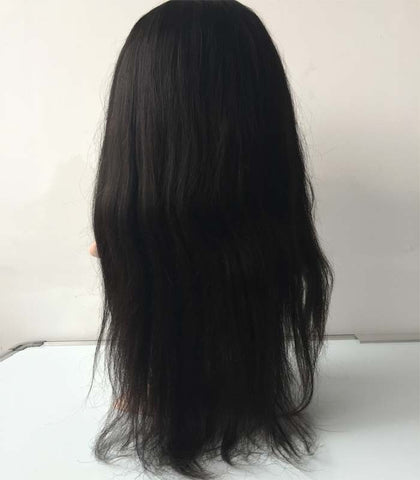 20 inches straight black Lace Front Mongolian Human Hair Wigs with bang - Luckin Wigs